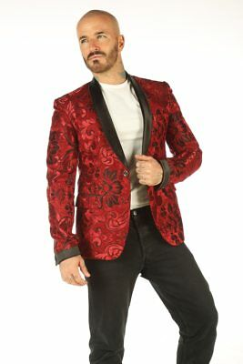 Deluxe Maroon Mens Blazer Steampunk Outfit Vintage Dress Coat Top
