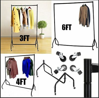 3 4 6 FT Heavy Duty Garment Rail Clothes Home Shop Hanging Display Rack Stand