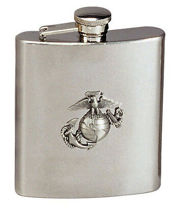 USMC hip flask Stainless Steel Globe And Anchor Marines Marines 8 Oz Rothco 650