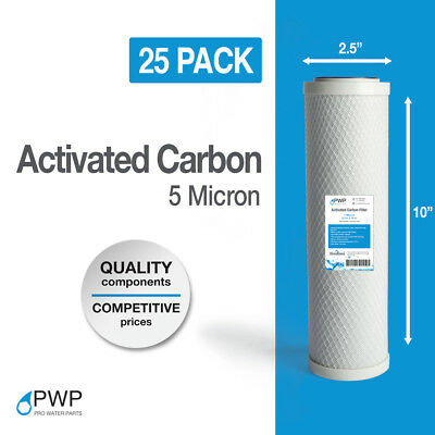 25 Pack Activated Carbon Block Water Filter Cartridge RO CTO 10x2.5 5 Micron