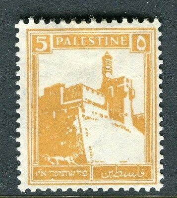 PALESTINE;  1927-45 early definitive issue fine Mint hinged 5m. value