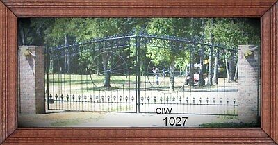 Custom Built Residential & Commercial Driveway Entry Gate 16 Ft Wide Dual Swing