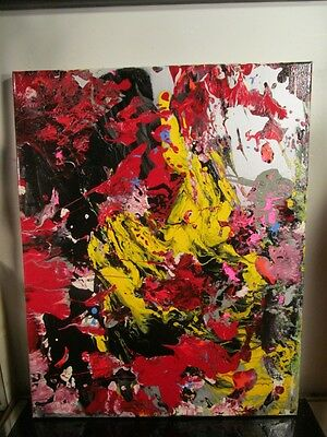 original painting canvas abstract by musk yai signed 16x20 2016  1oak~~
