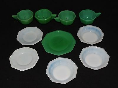 Akro Agate Child's Dishes Octagonal Green & White 10pc. Set