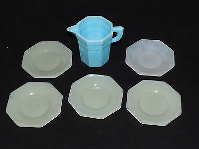 Akro Agate Child's Dishes Octagonal Blue & White -Off White 6pc. Set