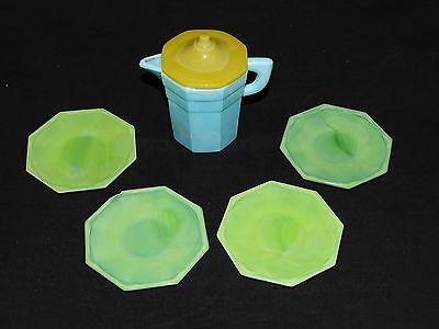 Akro Agate Child's Dishes Octagonal 4pc Lime Green, Blue and Yellow Set