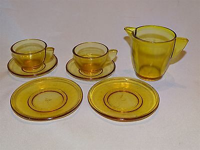 Akro Agate Child's Dishes Trans Optic Topaz 8pc Set