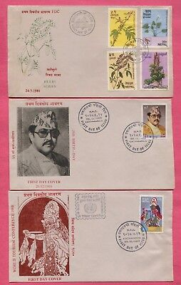 8 Fdc 1980 Nepal Including Gutter Pairs * Nice Cachets