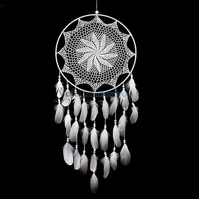 "43.3"" Large Handmade Dream Catcher with White Feathers Wall Hanging Decor Gift"