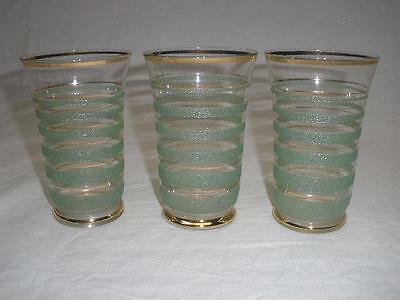 Retro Bohemia Colored Art Glasses Green X 3 Czechoslovakia