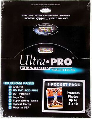1000 ULTRA PRO PLATINUM 1-POCKET Pages 8 x 10 Sheets Protectors Brand New