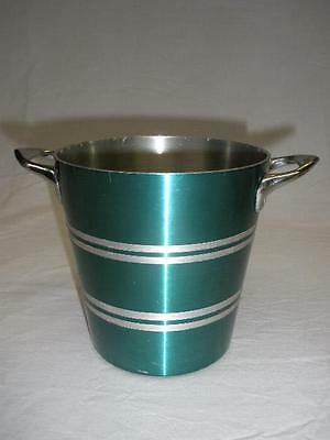 RETRO ANODISED GREEN ALUMINUM ICE BUCKET 1960s NOVOPRODUCT