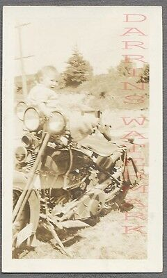 Vintage Photo Cute Baby on Motorcycle 695041
