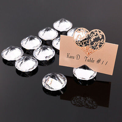 10/20 Crystal Clear Wedding/Party Table Place Card Number Name Holders Clip