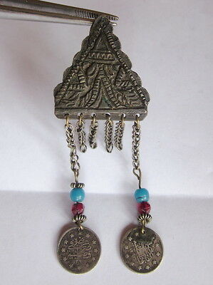 ANTIQUE TURKISH OTTOMAN EMPIRE NATIVE FOLK ART SILVER JEWELRY CHARM with COINS