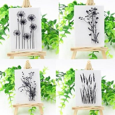 Flower & Grass Transparent Silicone Clear DIY Rubber Stamp Sheet Cling Scrapbook