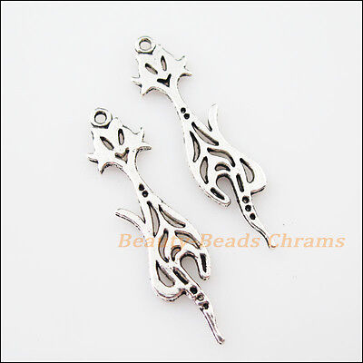 8Pcs Tibetan Silver Tone Lovely Animal Cat Charms Pendants 10x42mm