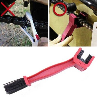 1xUniversal Red Chain Cleaning Grunge Brush for Motorcycle Bike Cleaner Dirtbike
