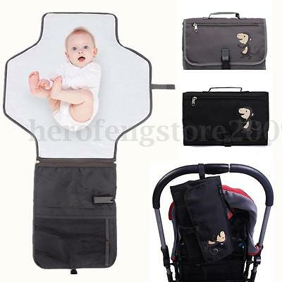 Portable Foldable Changing Mat Baby Kids Pad Nappy Bag Travel Storage Pockets AU
