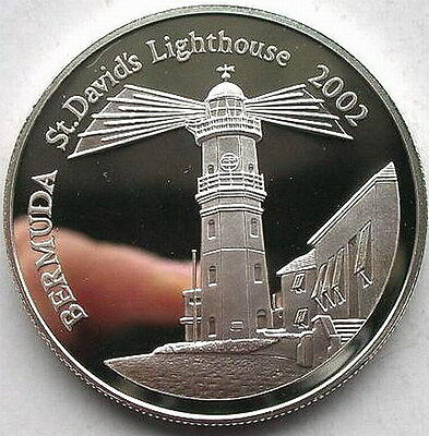 Bermuda 2002 St David's Lighthouse5 Dollars Silver Coin,Proof