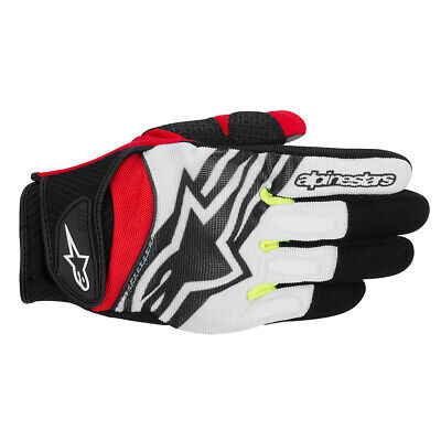 Alpinestars Spartan Fluo/Wht Short Textile Sports Motorcycle scooter MEN Gloves
