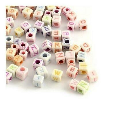 Packet of 100+ White/Mixed Acrylic 6mm Random Alphabet Beads Y06100