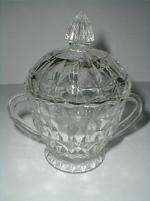 Jeannette Depression Glass WINDSOR DIAMOND Holiday Footed Sugar Bowl w Lid