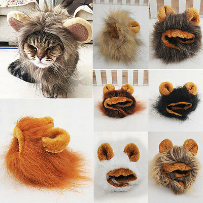 Furry Cute Pet Hat Costume Lion Mane Wig Cat Halloween Dress Up With Ears Party