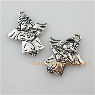 8Pcs Tibetan Silver Tone Heart Angel Wings Charms Pendants 21x25mm