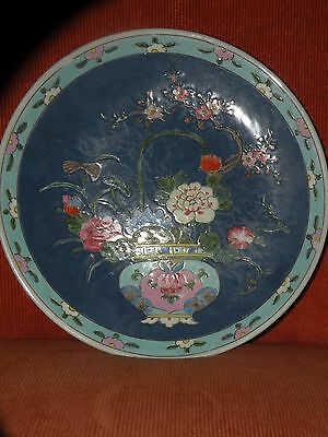ANTIQUE CHINESE ORIENTAL POLYCHROME ENAMEL CERAMIC CHARGER PLATE basket flowers