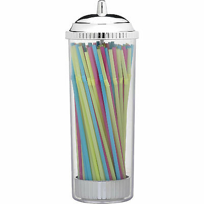 Glass Drinking Straw Dispenser Vintage Retro Holder Party With 75 Plastic Straws