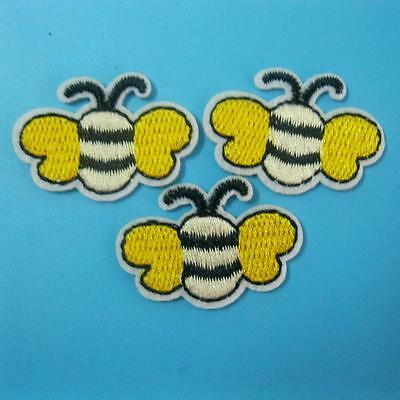 3 Bee Insect Iron on Sew Patch Applique Badge Embroidered Biker Cute Baby Kids