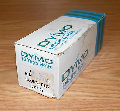 """Dymo (5201-02) 3/8"""" x 12' (9mm x 3.6m) Glossy Red Labeling Tape **READ**"""
