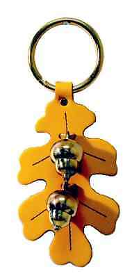 YELLOW OAK LEAF DOOR CHIME - Handmade Stitched Leather & Solid Brass Acorn Bells