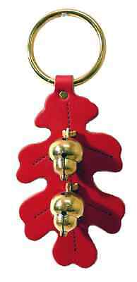RED OAK LEAF DOOR CHIME Handmade Stitched Leather & Solid Brass Acorn Bells USA