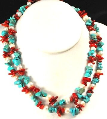 White Pearl Blue Turquoise Red Coral Silver Long Statement Bib Necklace 23""