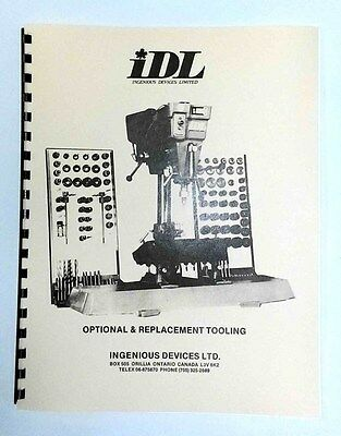 IDL Seat and Guide Machine Optional Tooling Manual