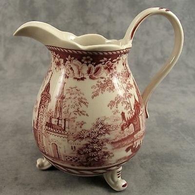 RED & CREAM TRANSFERWARE VICTORIAN COUNTRYSIDE TOILE PITCHER ~ 32 Ounce ~