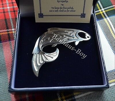 Kilt Pin Or Brooch Solid Pewter Scottish Salmon Fish Design Made In Scotland New