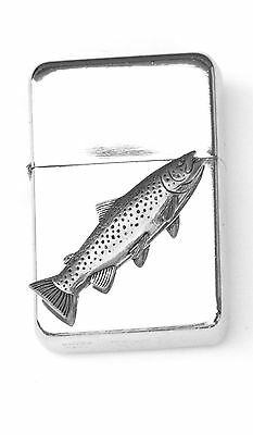 Brown Trout Emblem Windproof Petrol Lighter FREE ENGRAVING Personalised Gift 044