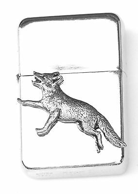 Fox Running Emblem Windproof Petrol Lighter FREE ENGRAVING Personalised Gift 142