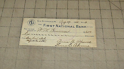 1924 Cancelled Check First National Bank of New Bloomfield, Pennsylvania
