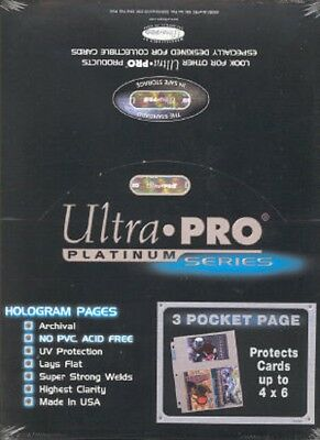 100 Ultra Pro Platinum Hologram 3-Pocket Page for 4x6 for Photos and Postcards