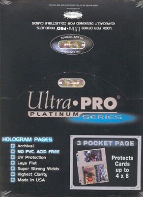 400 Ultra Pro Platinum Hologram 3-Pocket Page for 4x6 for Photos and Postcards
