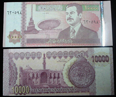 SADDAM HUSSEIN IRAQ IRAK10.000 DINARS B-NOTE 2001 P89 UNC look at description*
