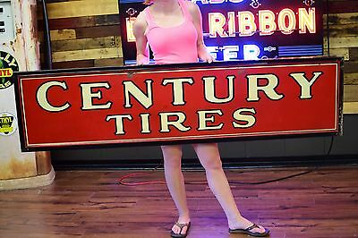 Vintage Century 40's Tire Sign Tin Gas Oil Station EARLY Tires Advertising RARE