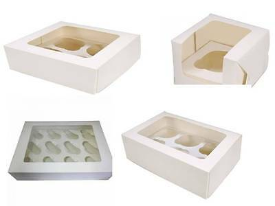 White Cupcake Boxes single Double 4, 6, 12 hole Various Quantities Fast Despatch