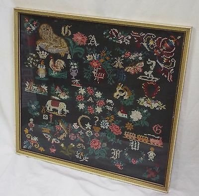 Old Vintage Large ANIMALS TRAIN & FLORAL Framed EMBROIDERY Picture SAMPLER