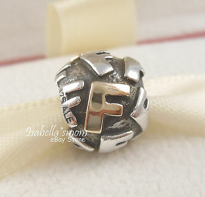 tt RETIRED Authentic PANDORA Silver & 14K GOLD Alpha Letter F Charm #790298F NEW
