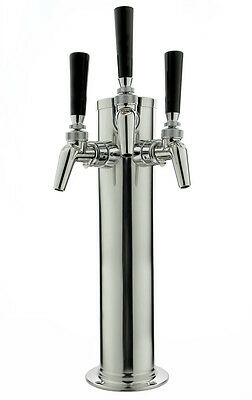 "Kegco DT145-3S-630 14"" Polished Stainless 3-Faucet Tower - Perlick Faucets"